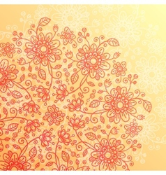 Yellow and pink doodle flowers vintage background vector image