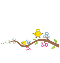 yellow bird cute flying to the island on a branch vector image
