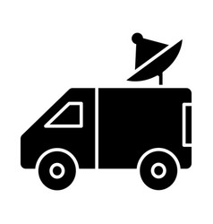 Car broadcasting with satellite dish icon vector
