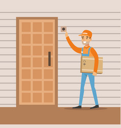 delivery service worker ringing the appartment vector image vector image
