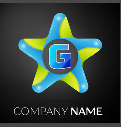 letter g logo symbol in the colorful star on black vector image