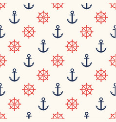 marine pattern ship helm and anchor navy seamless vector image