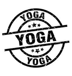 yoga round grunge black stamp vector image vector image