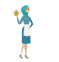 young muslim cleaner holding alarm clock vector image vector image