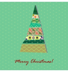 Card with pattern Xmas tree vector image