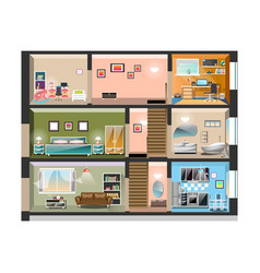 house cross section with room interiors vector image