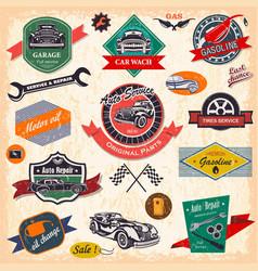 set of retro vintage car labels vector image