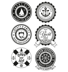 Set of round badges for sea and yacht club vector image vector image