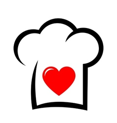 sign with chef hat and heart vector image