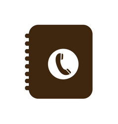 silhouette phone book icon flat vector image