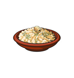 Sketch bowl of mashed pototo with piece of butter vector