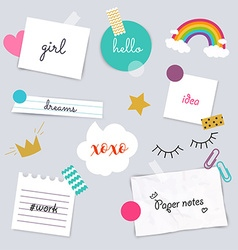 Stickers and note papers collection different vector