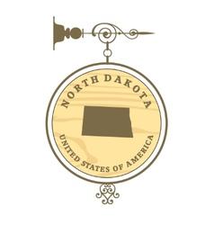 Vintage label North Dakota vector image