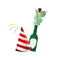 Champagne bottle with cork expelled and party hat vector