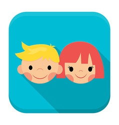 Smiling children faces app icon with long shadow vector image vector image