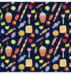 Sweets funny background with candies vector image
