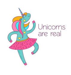 dancing cartoon unicorn in a skirt postcard - vector image