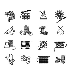 Hand drawn knitting embroidering and sewing icons vector image vector image