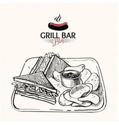 sandwich doodle vector image vector image