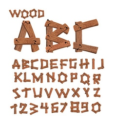 Wood font old boards alphabet wooden planks with vector