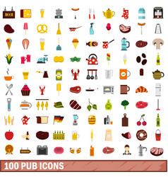 100 pub icons set flat style vector image