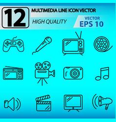 12 multimedia line icon vector