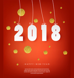 2018 happy new year red background with golden vector image