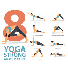 8 yoga poses for strong arms and core vector