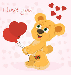 a little bear boy holding balloons in his paws in vector image
