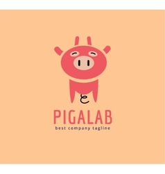 Abstract piggy cute character logo icon concept vector