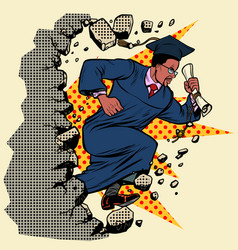 African graduate university college breaks a wall vector
