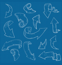 arrows white hand drawn sketch on blueprint vector image