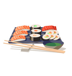 Asian food sushi on board with wooden chopsticks vector