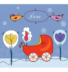 Baby card with pram for winter vector image