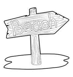 Beach wooden direction sign icon vector image