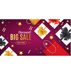 big sale concept banner horizontal with realistic vector image