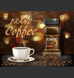 black arabica coffee cup with beans ads 3d vector image