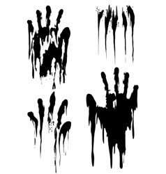 Black handprint set isolated on white vector