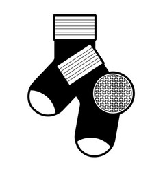 black sections silhouette of pair of socks and vector image