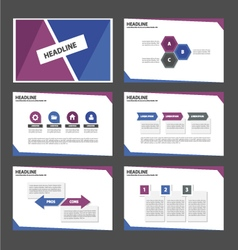 Blue and Purple presentation templates set vector image