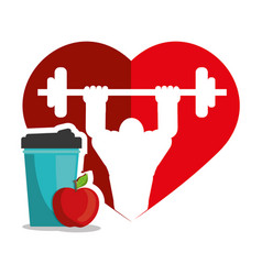 Bodybuilder fitness heart juice apple silhouette vector