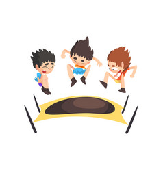 boys jumping on trampoline bouncing kids having vector image