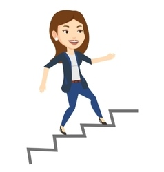 Business woman running up the career ladder vector
