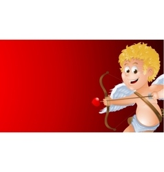 Cartoon cupid showing a blank red background vector image