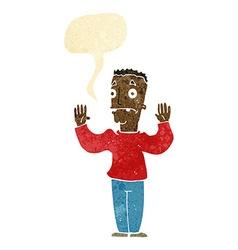 Cartoon man surrendering with speech bubble vector