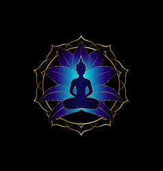 chakra concept buddha silhouette lotus position vector image