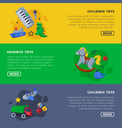 children favorite toys landing page templates set vector image