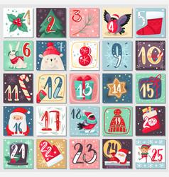 christmas advent calendar winter festive poster vector image