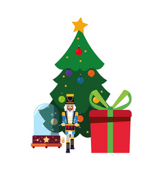 Christmas nutcracker tree and gift vector