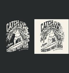 christmas surfing vintage monochrome label vector image